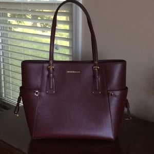 Michael Kors Burgundy Tote w Gold Hardware